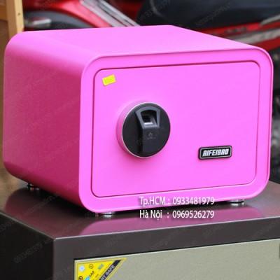 Két sắt mini vân tay màu hồng AifeiBao D25-P